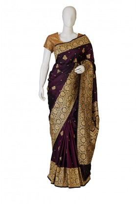 Banarasi Silk Wine Saree