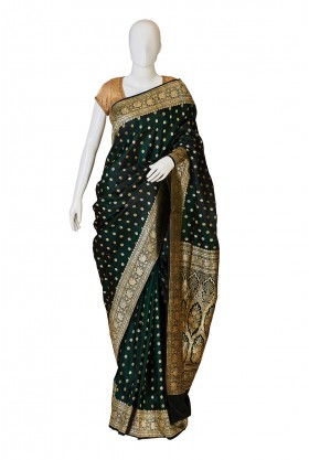 Banarasi Silk Bottle Green Saree