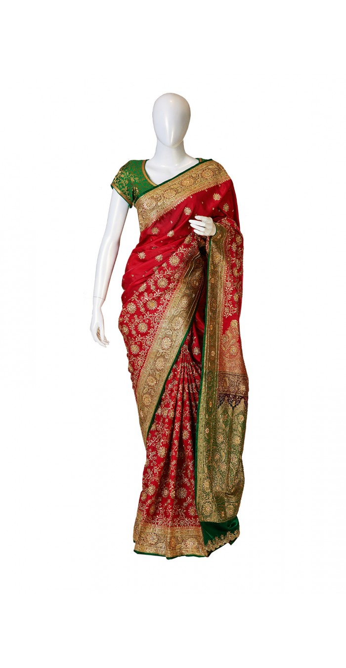 Banarasi Silk Red Green Combination Saree