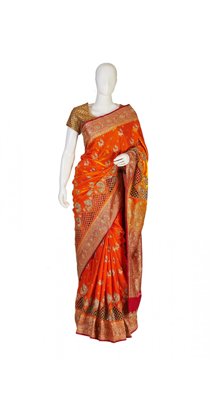 Banarasi Silk Orange Saree