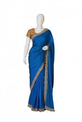 Satin Silk Royal Blue Saree