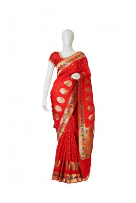 Banarasi Silk Red Saree