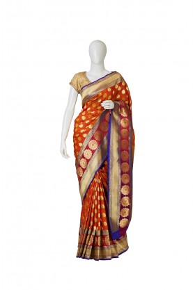 Banarasi Silk Rust Saree