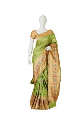 Banarasi Silk Pista Green Saree