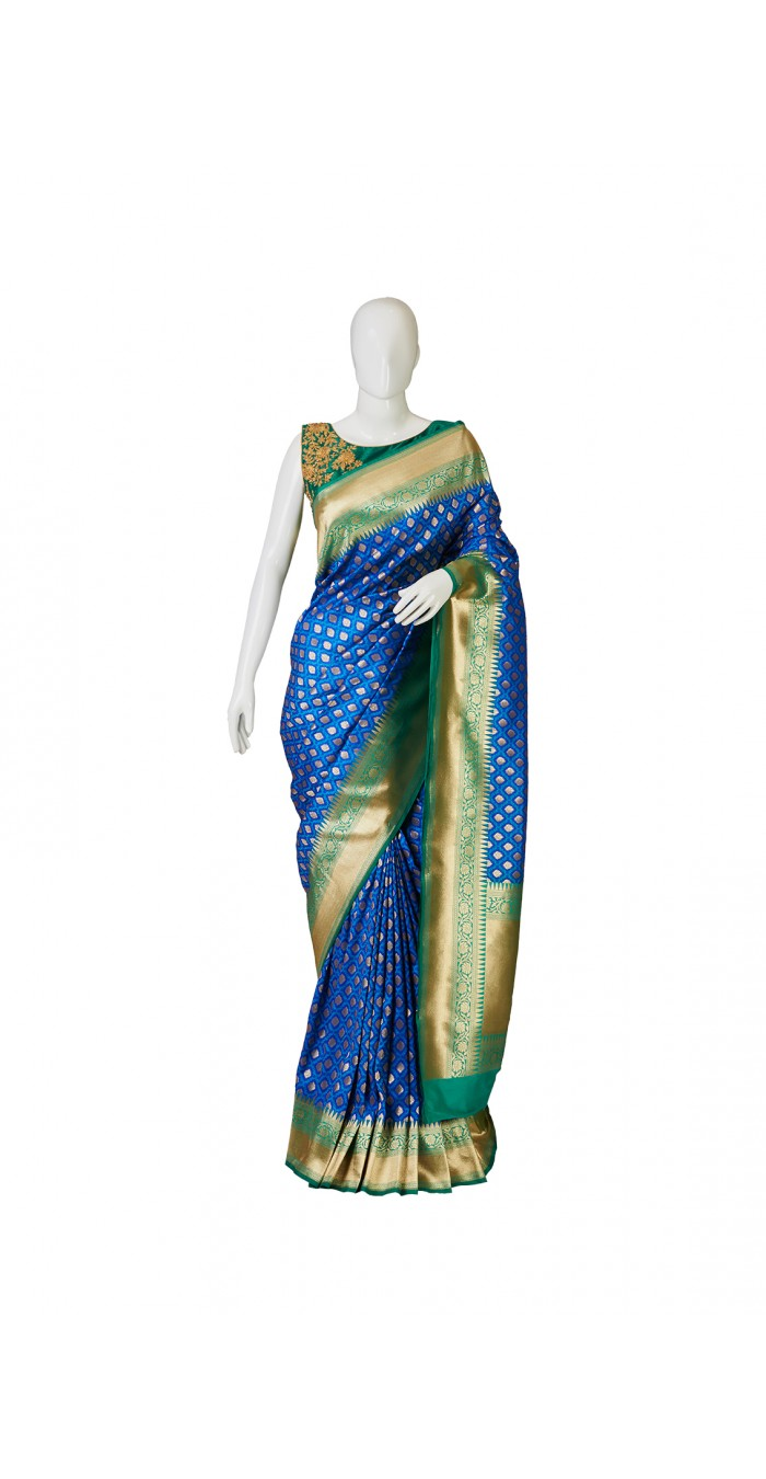 Banarasi Silk Peacock Blue Saree