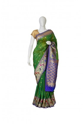 Banarasi Silk Parrot Green Saree