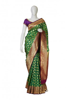 Parrot Green Banarasi Saree