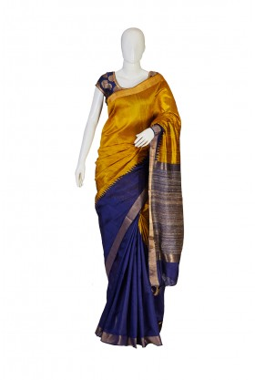 Navy and Mustard Bhagalpur Silk Saree
