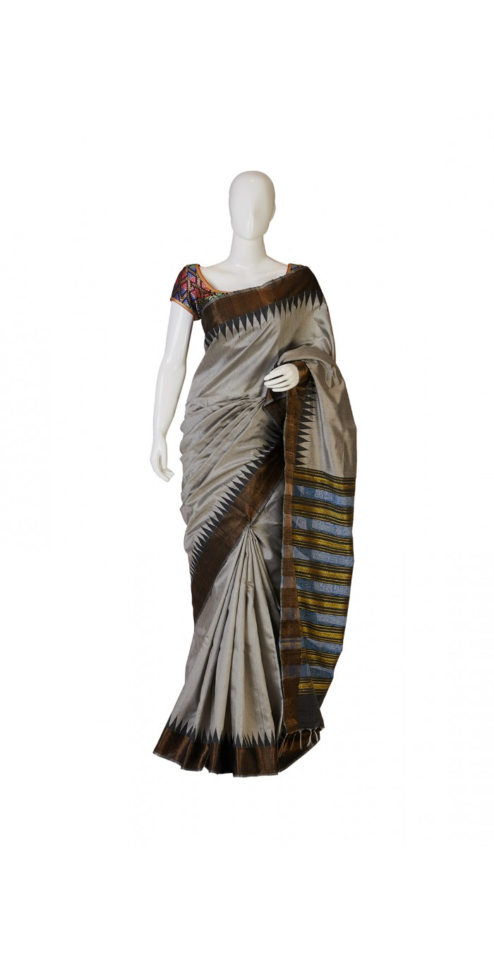 Steel Grey Bhagalpur Silk Saree