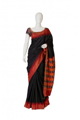 Black and Red Bhagalpur Silk Saree