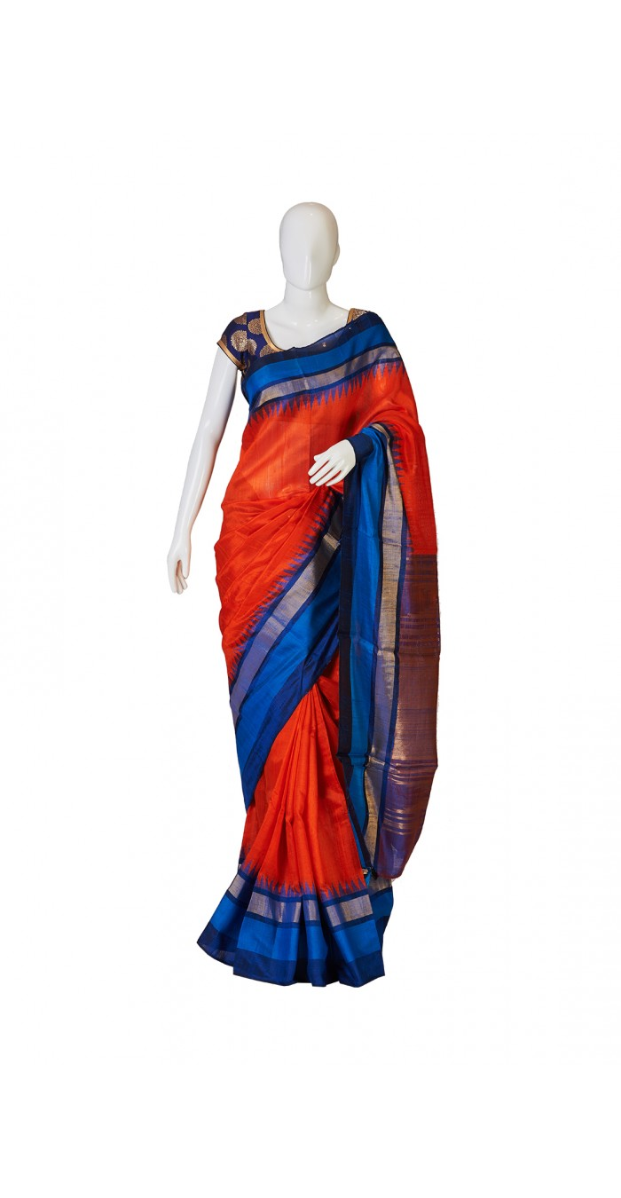 Orange Bhagalpur Silk Saree