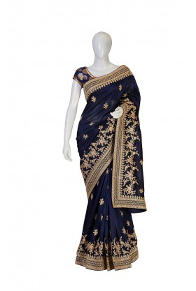 Dupion Silk Navy Blue Saree