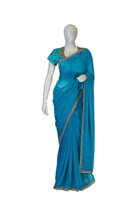 Chiffon Peacock Blue Saree