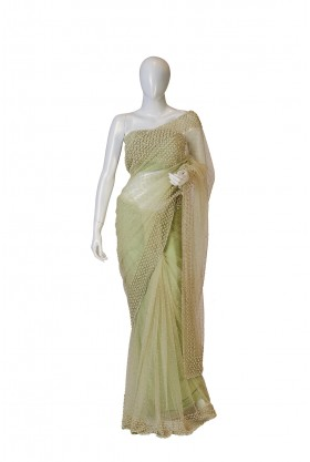 Soft net fabric pista saree