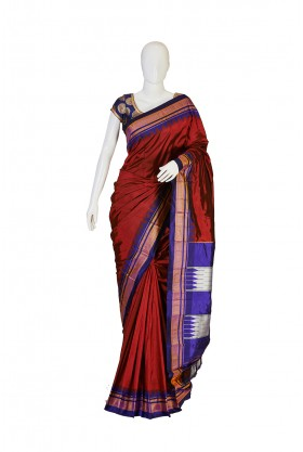 Pure Silk Dark Maroon Saree