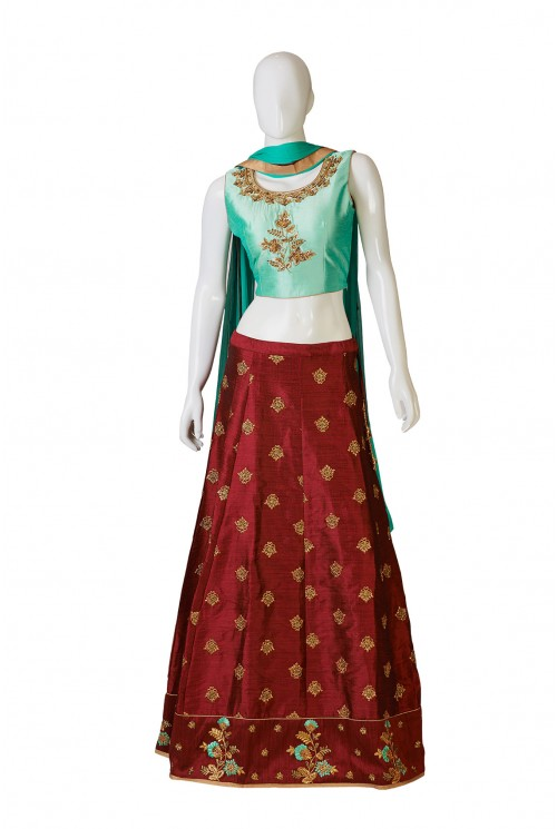 Maroon And Sea Green Indo-Western Dress