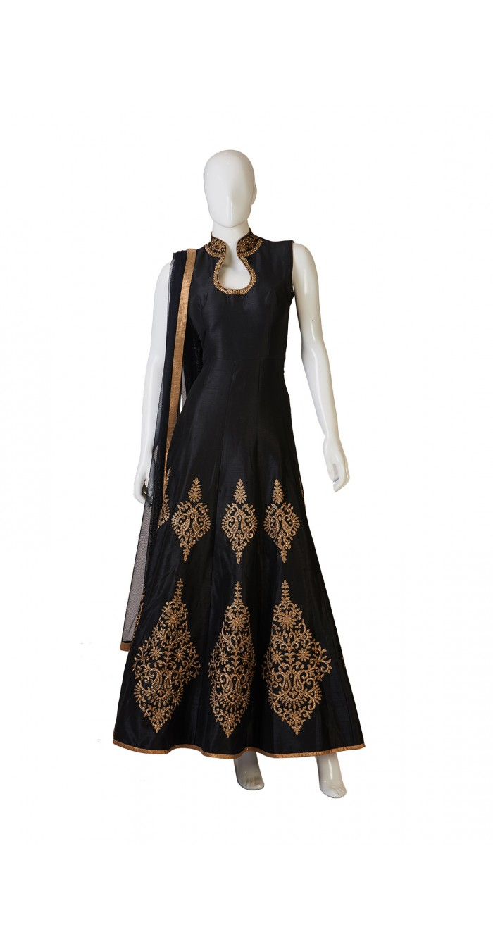 Black Indo-Western Dress With Gold Work