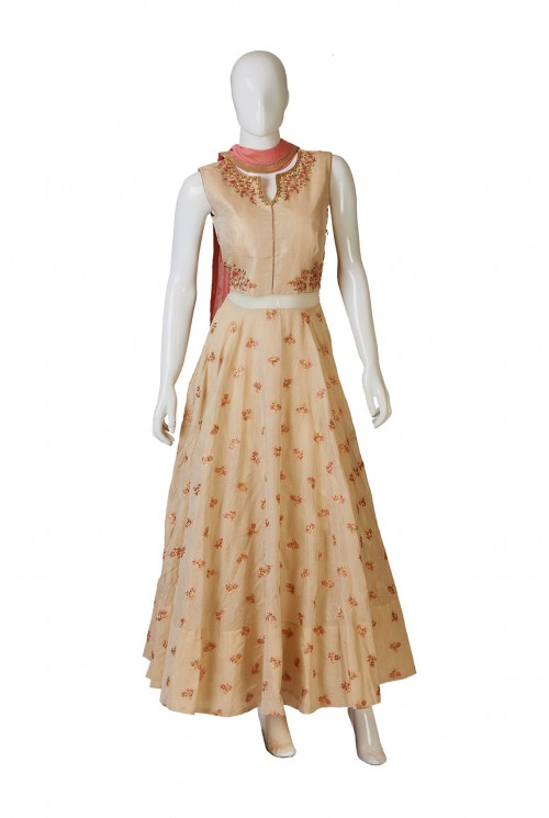 Tussar Silk Woven Indo-Western Dress