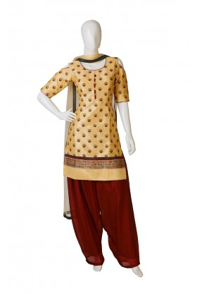 Cream Red Combination Indo Western Dress