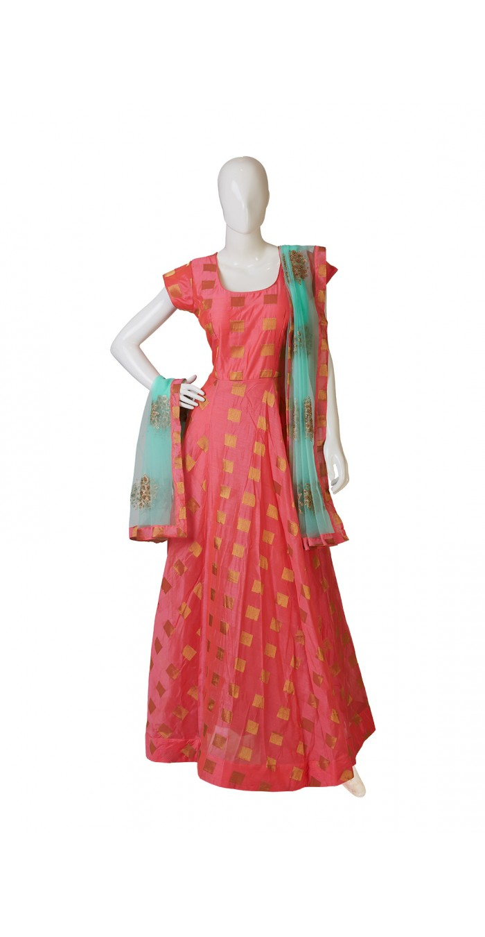 Chic Gajari Red Indo Western Dress
