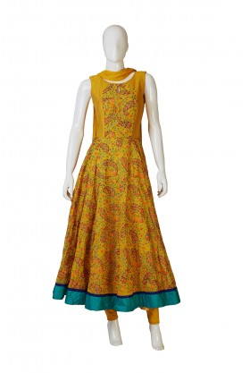 Mustard Indo Western Dress In Parsley Pattern