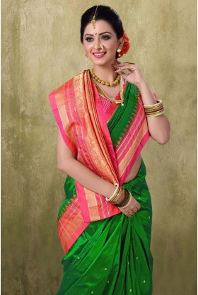 Irkal 9YDS Green Color Saree