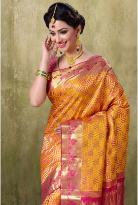 Kanjivaram Two Tone Gold Muster Color Saree