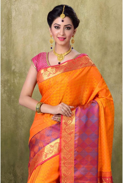 Kanjivaram Gold Mustered Color Saree