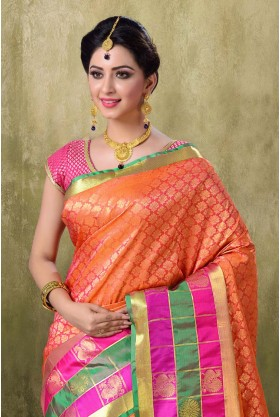 Kanjivaram Light Orange Color Saree