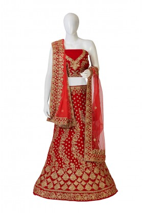 Bridal Red Dupion Silk Lehenga