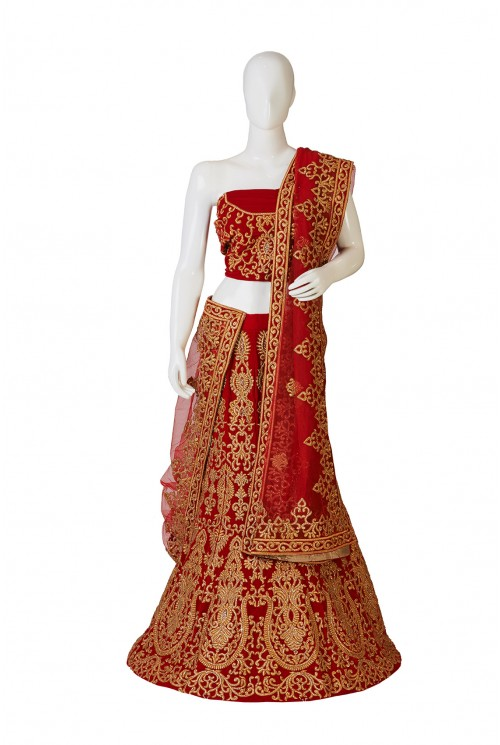 Beautiful Red Gold Combination Lehenga