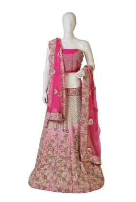 Satin Silk Shaded Cream, Pink, Rani Lehenga
