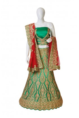 Satin Silk Shaded Lehenga – Pista To Green