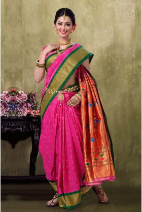 Paithani 9YDS Majanta Color Saree