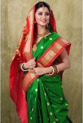 Paithani 9YDS Green Color Saree