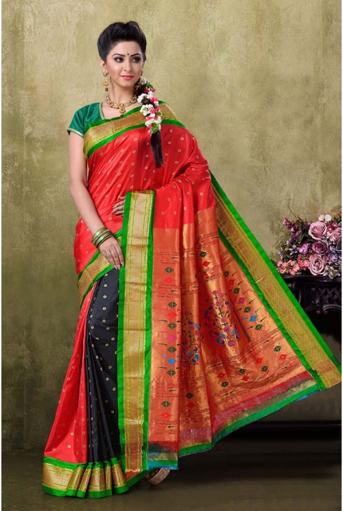 Paithani Red Color Saree