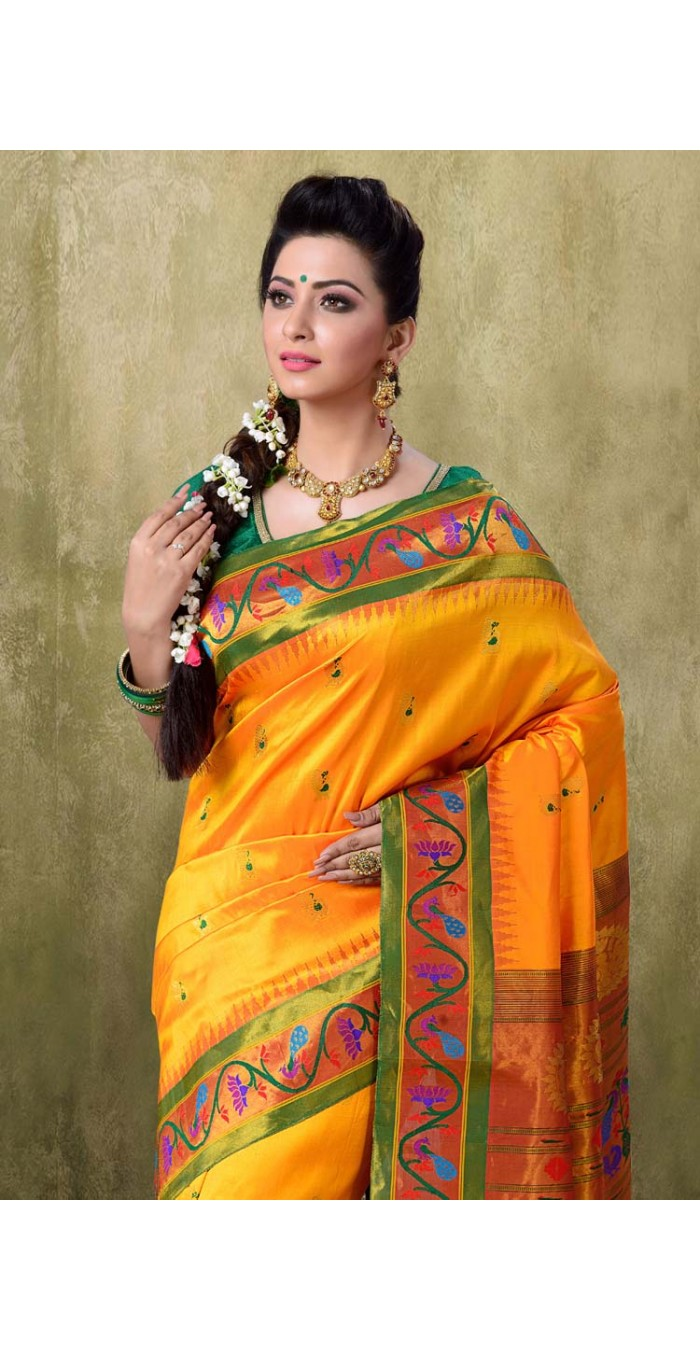 Paithani Golden Yellow Color