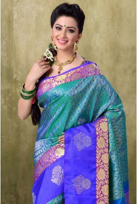 Kanjivaram Two Tone Peacock Color Saree