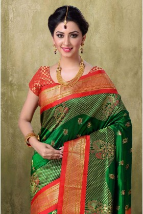 Paithani Green with Maroon Border