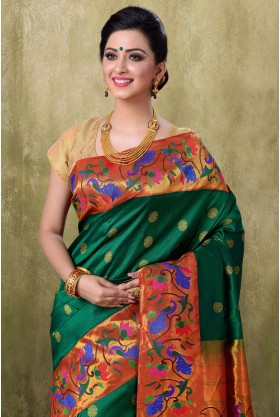 Paithani Green Color Saree