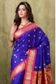 Paithani Royal Blue Color with Rani Border