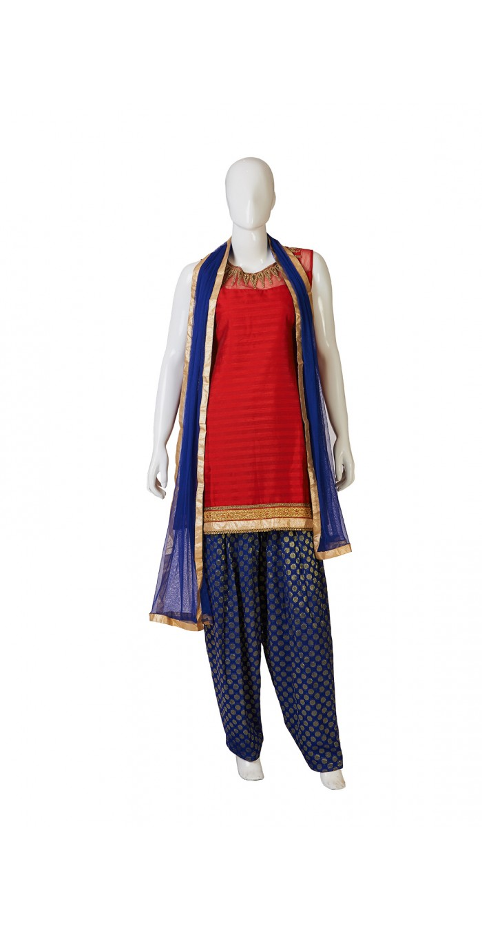 Gorgeous Red Blue Salwar Kameez