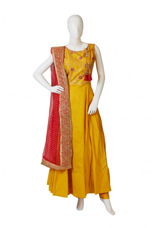 Traditional Mustard Blue Salwar Kameez