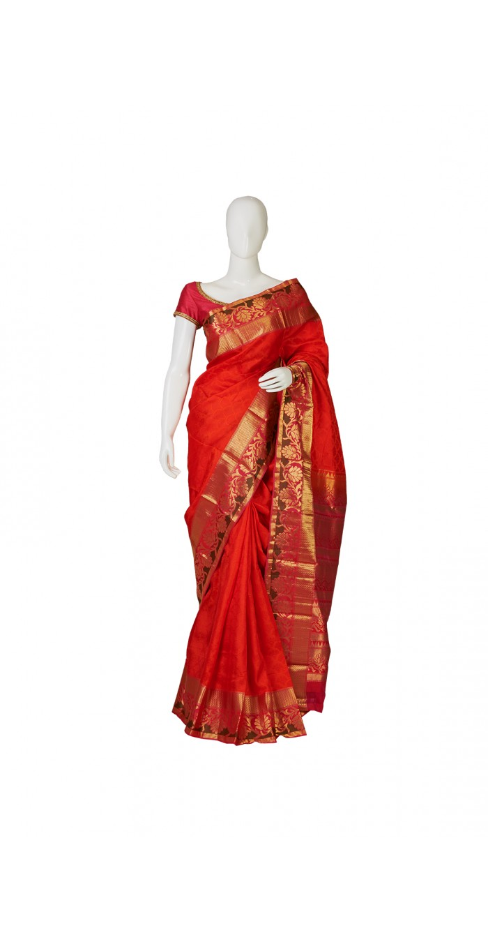 Vintage Orange Soft Silk Saree