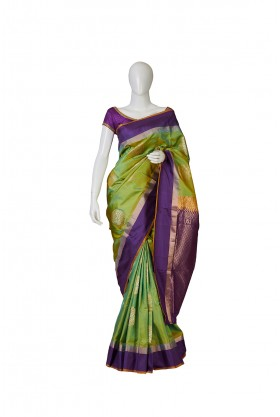 Attractive Liril Green Soft Silk Saree