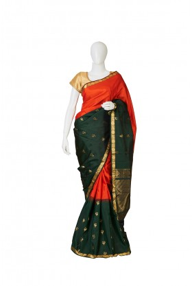 Bottle Green Arni Silk Saree