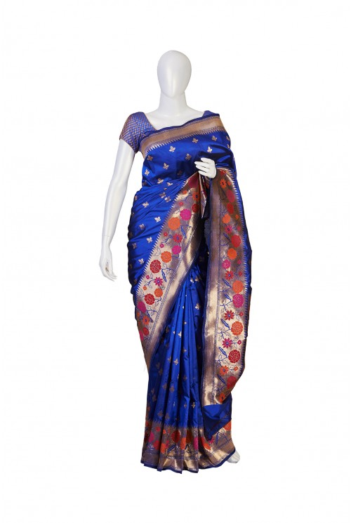 Semi Silk Nevy Blue Partywear Saree