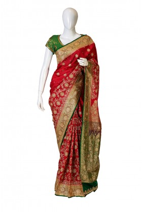 Satin Silk Red by Green Banarasi Bridal Saree