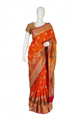 Satin Silk Orange Banarasi Bridal Saree