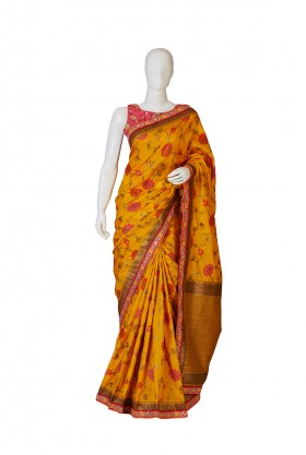 Silk Mastard Gold Partywear Saree